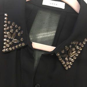 Black sleeveless sheer sequin top shirt Lush L